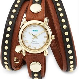 La Mer wrap watch brown and gold